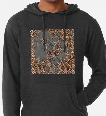 Ninja cat hiding in golden fractals Lightweight Hoodie