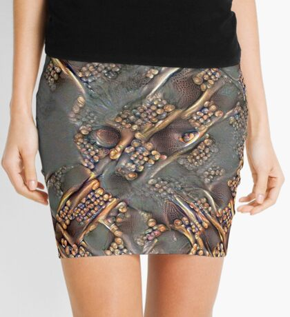 Ninja cat hiding in golden fractals Mini Skirt