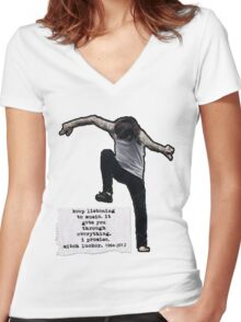 Keep listening to music Women's Fitted V-Neck T-Shirt