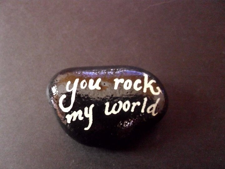 You Rock my World Handpainted rock by Melissa Renee