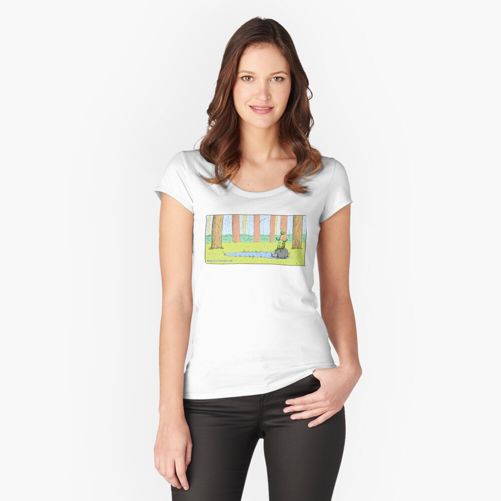 Cute Long Necked Turtle Illustration Fitted Scoop T-Shirt