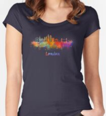 London V2 skyline in watercolor Women's Fitted Scoop T-Shirt