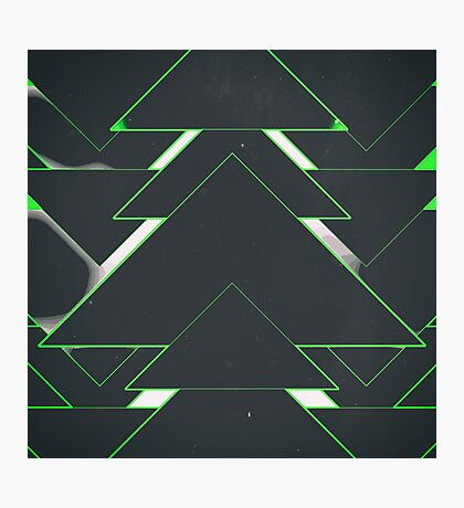 Abstract Triangles Green Photographic Print