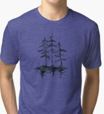 THE THREE SISTERS - Trees in Black and White Rustic Vintage Forest Adventure Art Tri-blend T-Shirt