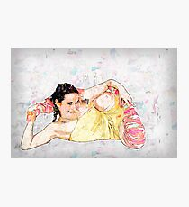 Young flexible woman On white Background Photographic Print