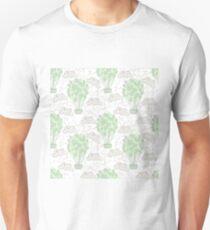 Camiseta unisex Globos de aire caliente Vintage dibujo en línea pastel verde