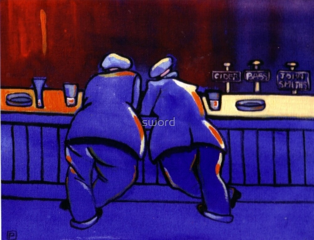 Propping up the bar (from my original acrylic painting) by sword