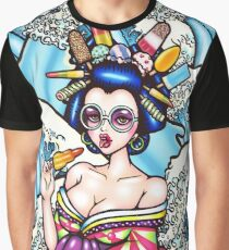 Ice Lolly Geisha and Great waves Graphic T-Shirt