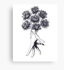 Hand with lotuses Canvas Print