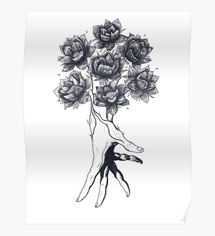 Hand with lotuses Poster