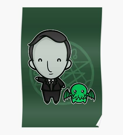 HP Lovecraft and Friend Poster