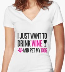 drink, wine, pet, dog Women's Fitted V-Neck T-Shirt