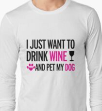 drink, wine, pet, dog Long Sleeve T-Shirt