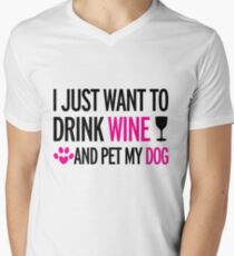 drink, wine, pet, dog Men's V-Neck T-Shirt