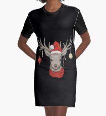 Christmas Deer Graphic T-Shirt Dress