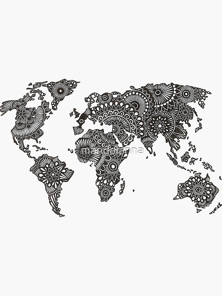 Henna Weltkarte von mandalanna