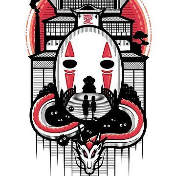 Spirited Haku and Chihiro by animepie