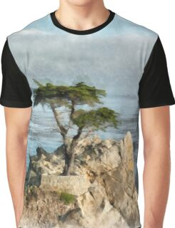 Lone Cypress Watercolor Graphic T-Shirt