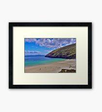 Walkers On Keem Beach, Achill Island Feted By The Green Atlantic Ocean. Framed Print