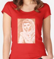 Women in Headscarf- Sepia Women's Fitted Scoop T-Shirt