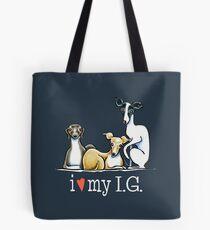 Italian Greyhound Lover {White Type} Tote Bag