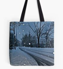 Looking Down The Snowy Road Tote Bag