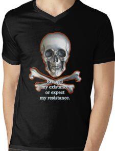Respect My Existence Skull & Crossbones Edition Mens V-Neck T-Shirt
