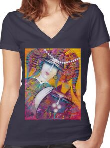 KATY AND THE CAT Women's Fitted V-Neck T-Shirt