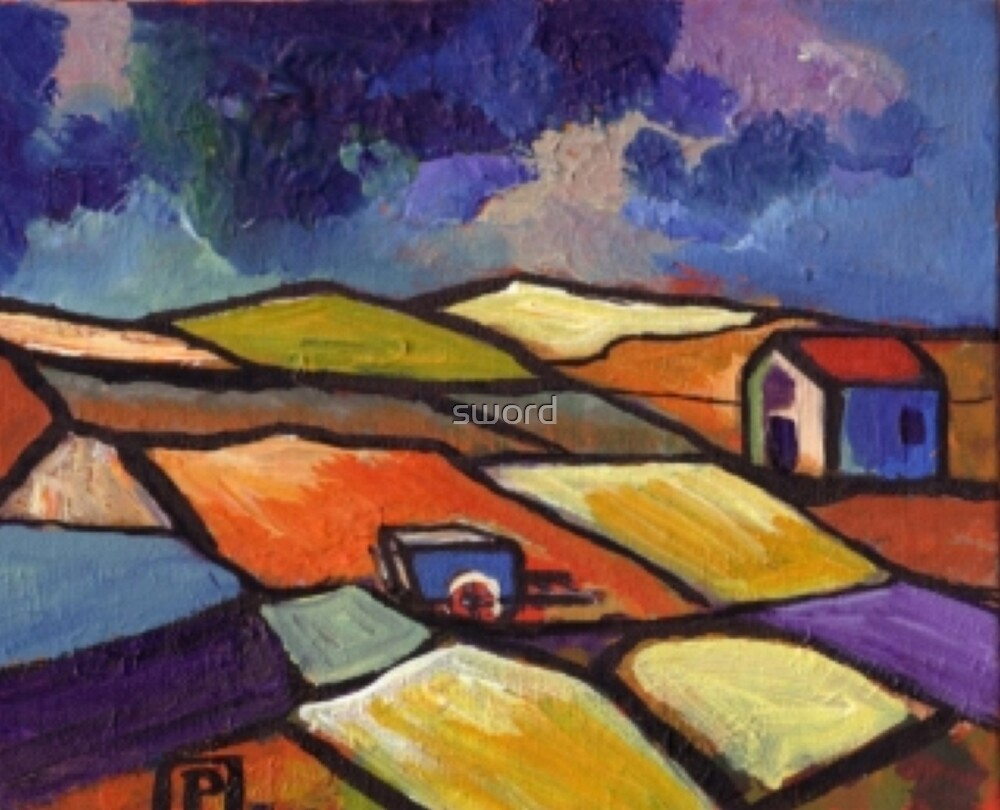Impressionist landscape (from my original acrylic painting) by sword