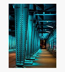 A Blue Lightened Bridge At NightBlue Night Light Under The Bridge Over Maybachstrasse | Cologne, Germany Photographic Print