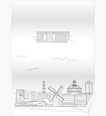 Amsterdam city iconic buildings Poster