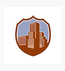 Urban Skyscraper Buildings Shield Retro Photographic Print