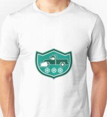 Snow Plow Truck Snowflakes Shield Retro T-Shirt