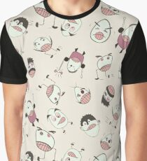 Goofy Running Eggheads with Silly Faces Graphic T-Shirt