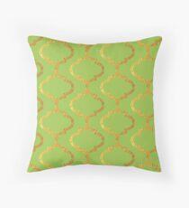 Mughal on acid green lattice Pattern Throw Pillow