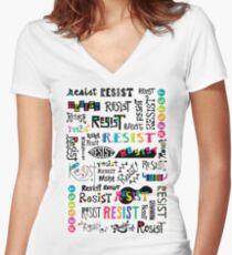 resist them white Women's Fitted V-Neck T-Shirt
