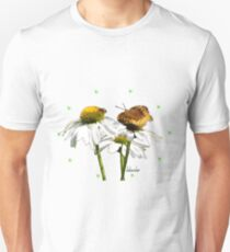 Fritillary Butterfly on White Echinacea Unisex T-Shirt