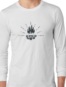 CAMPFIRE - Black and White Vintage Rustic Camping Adventure Fire Art Design Long Sleeve T-Shirt