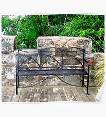 Castle Bench, Glenveigh Castle, Donegal, Ireland Poster