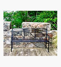 Castle Bench, Glenveigh Castle, Donegal, Ireland Photographic Print