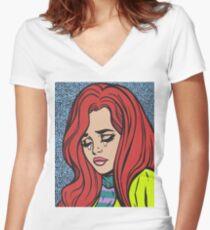 Sad Pop Art Comic Girl Women's Fitted V-Neck T-Shirt