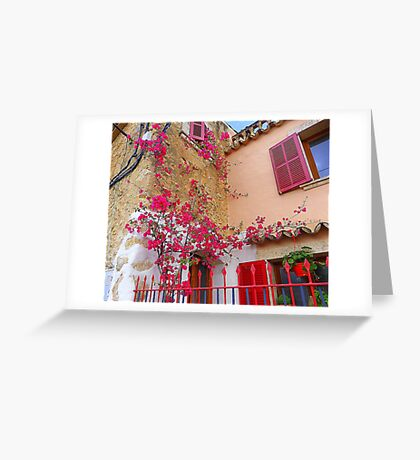 Pink Shutters With Bougainvillea............................Majorca Greeting Card
