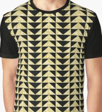 Triangles mosaic black and gold pattern Graphic T-Shirt