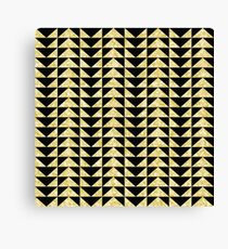 Triangles mosaic black and gold pattern Canvas Print