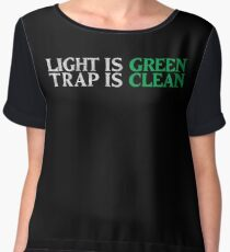 Ghostbusters - Light Is Green, Trap Is Clean - White Dirty Chiffon Top