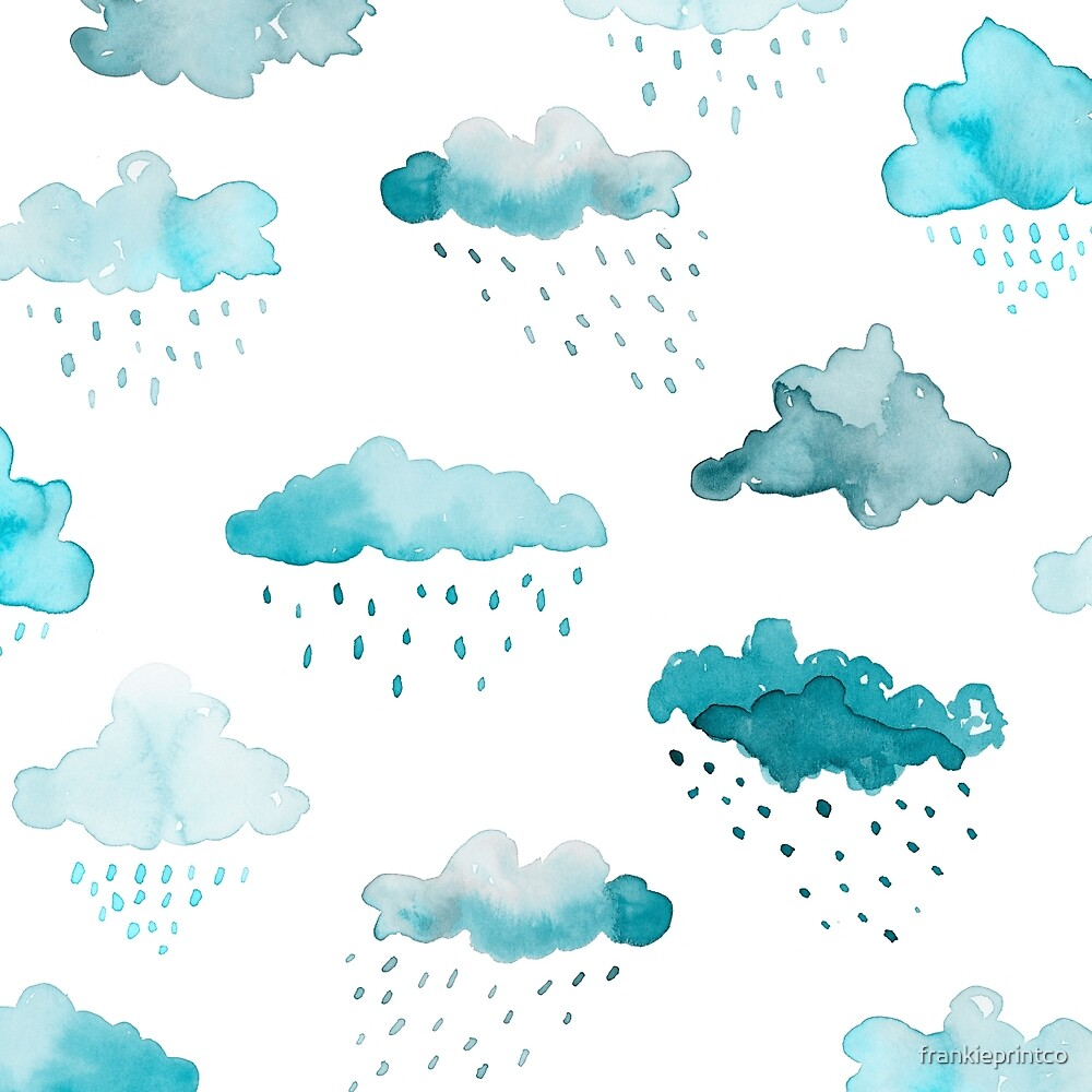 Watercolour Clouds - Blue by frankieprintco