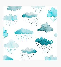 Watercolour Clouds - Blue Photographic Print
