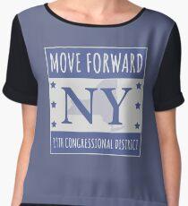 Move Forward New York Logo Tee Chiffon Top