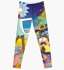 Rick and Morty Being Chased Leggings