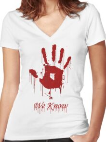 "AWESOME Dark Brotherhood ""We Know"" Women's Fitted V-Neck T-Shirt"